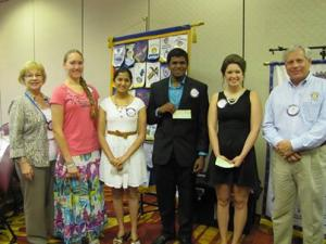 Pictured: Left to right Scholarship Chairman Betty Coulter Laura Vonderhaar of Kings H.S. Shivani Ambani of Mason H.S. Vineet Erasala of Mason H.S. Alyssa King of Kings H.S. Rotary Club President Jerry Kroll